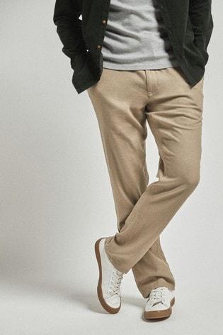 Stone Linen Blend Drawstring Trousers