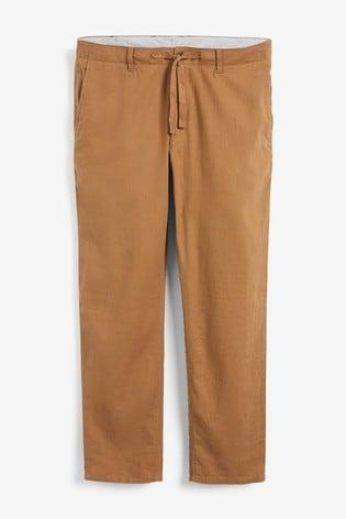 Tan Brown Linen Blend Drawstring Trousers