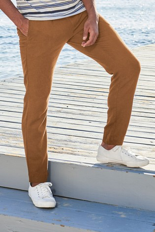 Tan Slim Tapered Linen Blend Pleated Trousers