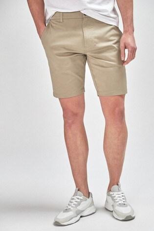 Wheat Straight Fit Stretch Chino Shorts