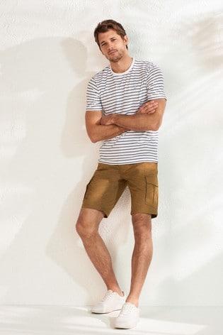 Ecru Stag Stripe Regular Fit T-Shirt