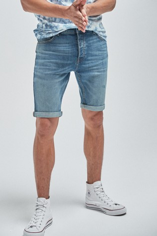 Mid Blue Skinny Fit Vintage Wash Denim Shorts