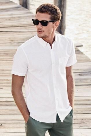 White Regular Fit Linen Blend Short Sleeve Shirt