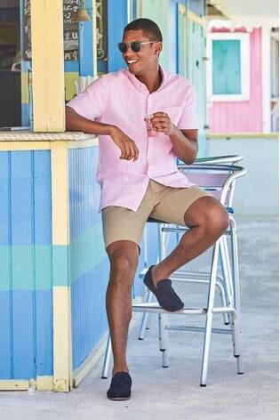 Pink Regular Fit Linen Blend Short Sleeve Shirt
