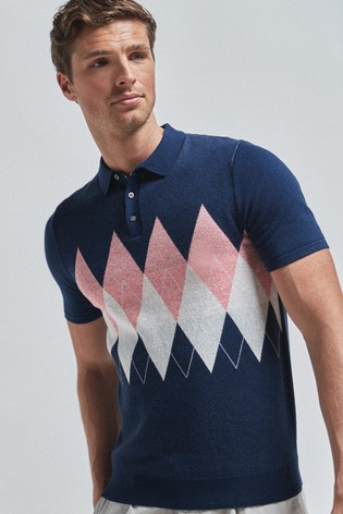 Blue Argyle Pattern Cotton Short Sleeve Polo