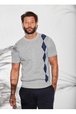 Grey Argyle Crew Neck T-Shirt