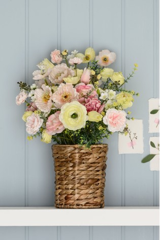 Artificial Poppy Mix In Basket