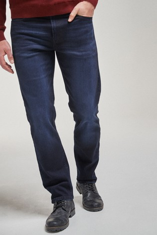 Blue/Black Straight Fit Soft Touch Jeans