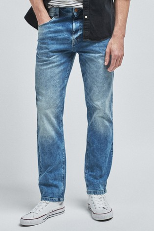 Blue Straight Fit Jeans With Stretch