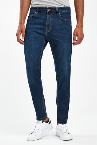 Mid Blue Tapered Slim Fit Jeans With Stretch