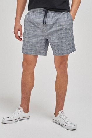 Grey Check Drawstring Waist Dock Shorts