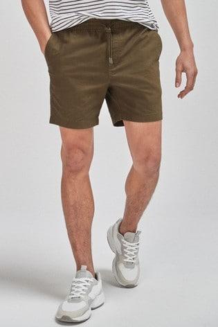 Khaki Drawstring Waist Dock Shorts