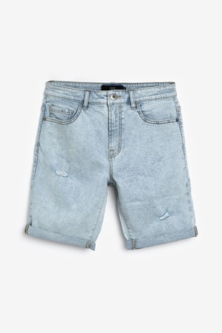 Bleach Ripped Straight Fit Denim Shorts