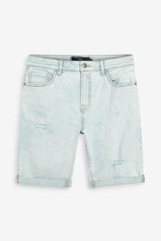 Bleach Ripped Skinny Fit Denim Shorts