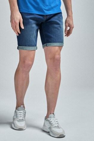 Mid Blue Straight Fit Denim Shorts