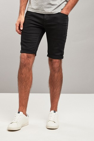 Black Skinny Fit Denim Shorts