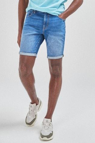 Bright Blue Skinny Fit Denim Shorts