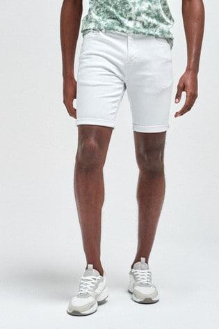 White Straight Fit Denim Shorts