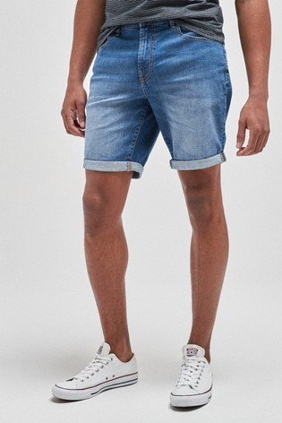 Bright Blue Straight Fit Denim Shorts