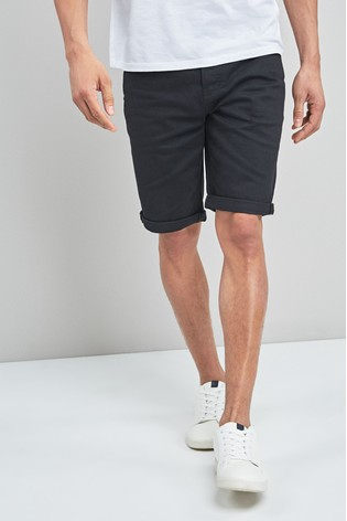 Black Straight Fit Denim Shorts