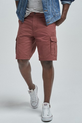 Red Cotton Cargo Shorts