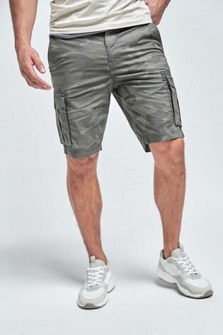 Grey Camouflage Cargo Shorts