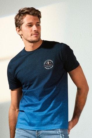 Navy Dip Dye Graphic Regular Fit T-Shirt