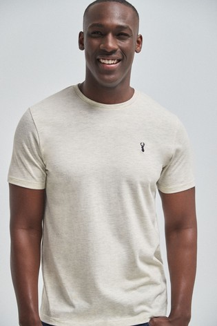 Ecru Marl Regular Fit Stag T-Shirt