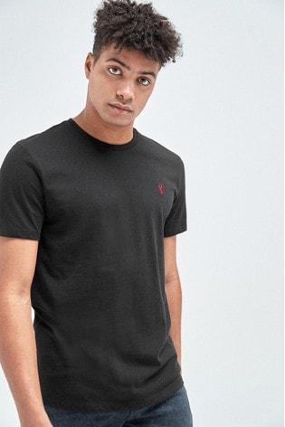 Black Regular Fit Stag T-Shirt