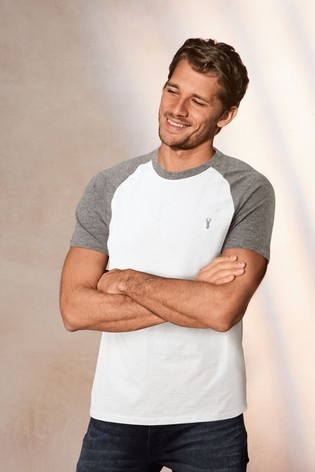 Grey/White Raglan Sleeve Slim Fit T-Shirt