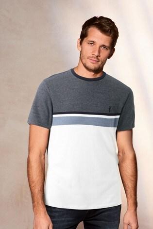 White/Blue Block Soft Touch Regular Fit T-Shirt