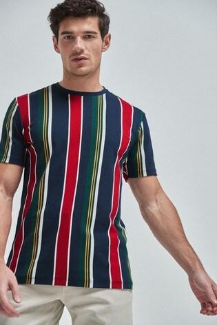 Navy/Red Vertical Stripe Regular Fit T-Shirt