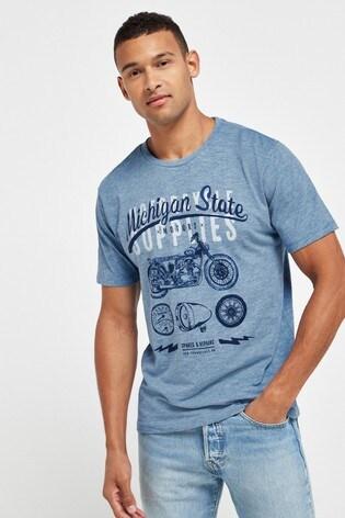 Blue Michigan State Graphic Regular Fit T-Shirt
