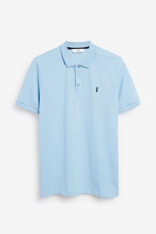 Light Blue Spot Regular Fit Pique Poloshirt