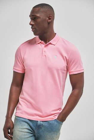 Pink Regular Fit Pique Poloshirt