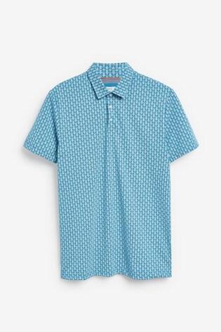 Blue Pineapple Print Poloshirt