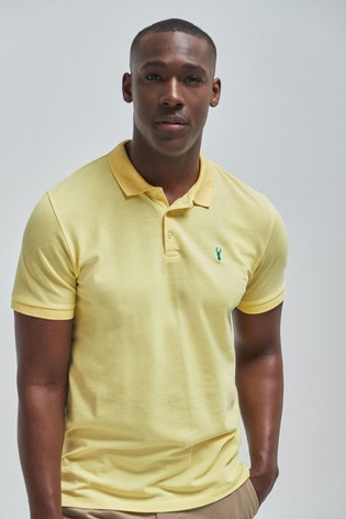 Yellow Regular Fit Pique Poloshirt