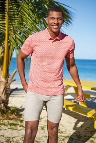 Coral Palm Print Poloshirt