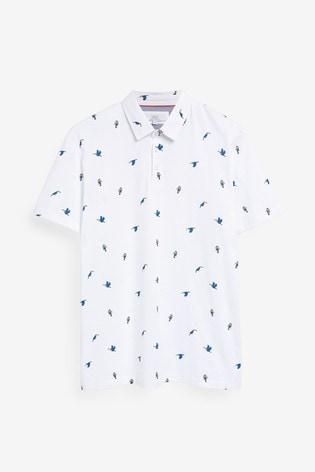 White Bird Print Poloshirt
