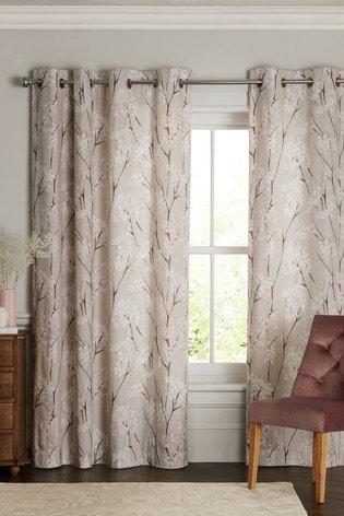 Pretty Blossom Print Eyelet Curtains