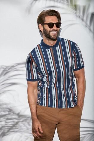 Navy/Tan Slim Fit Vertical Stripe Zip Neck Poloshirt