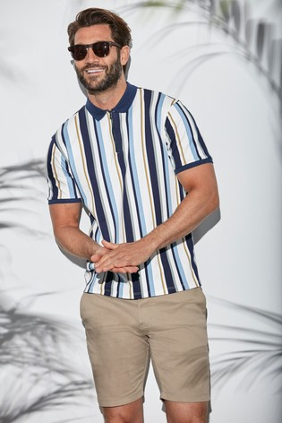 White/Blue Slim Fit Vertical Stripe Zip Neck Poloshirt