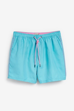 Light Blue Essential Swim Shorts With Piping