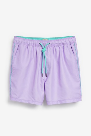 Lilac Essential Swim Shorts With Piping