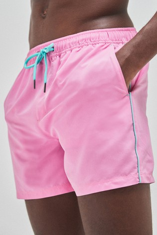 Pink Essential Swim Shorts With Piping