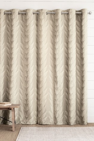 Linear Leaf Jacquard Eyelet Lined Curtains