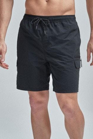Black Utility Swim Shorts