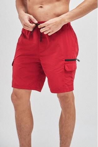Red Utility Swim Shorts