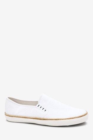 Buy White Canvas Jute Slip-Ons from