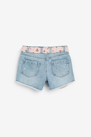 Mid Blue Pocket Shorts With Tie Belt (3-16yrs)